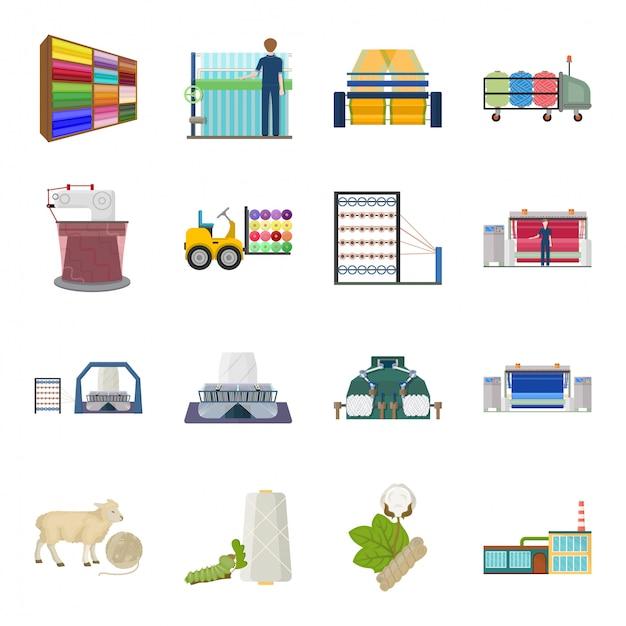 Textile fabric  cartoon set icon. industry cartoon set icon salon.   textile fabric  . Premium Vecto