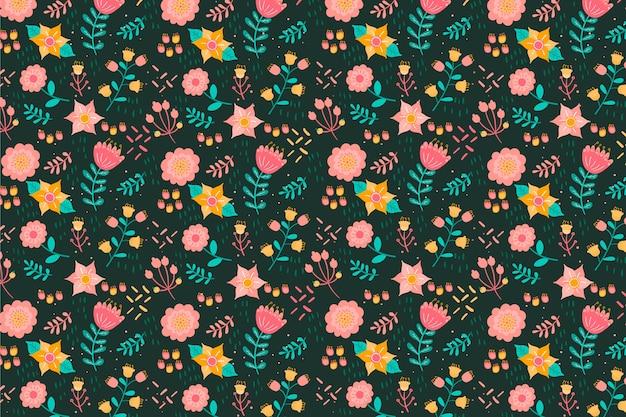 Текстильная ткань дицы разноцветные цветы фон Бесплатные векторы