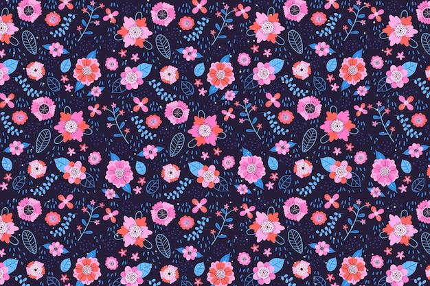 織物生地頭が変な花柄の背景 無料ベクター