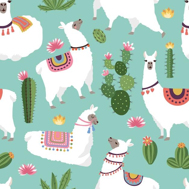 ラマとサボテンのイラストと織物シームレスパターン。ベクトルアルパカシームレスパターン、緑のサボテン Premiumベクター
