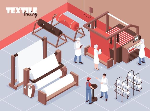 Personale della fabbrica tessile e varie macchine per tessere 3d isometrici Vettore gratuito