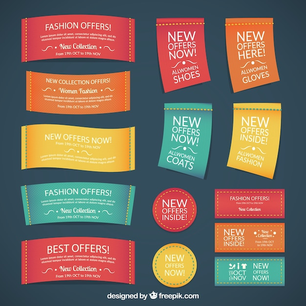 Textile fashion labels in colored style Free Vector
