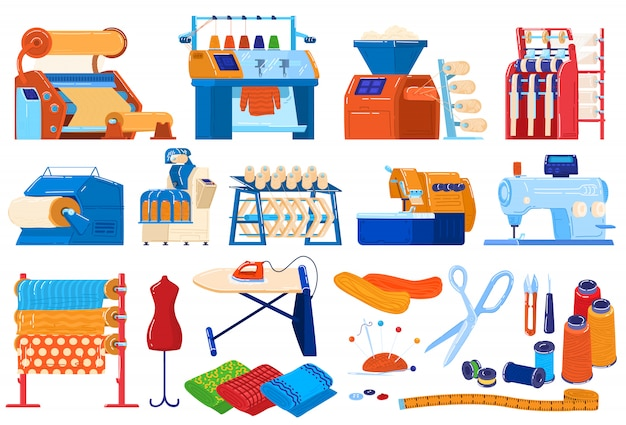 Textile industry  illustration set, cartoon  collection of textile machinery equipment, thread and fabrics production process Premium Vector