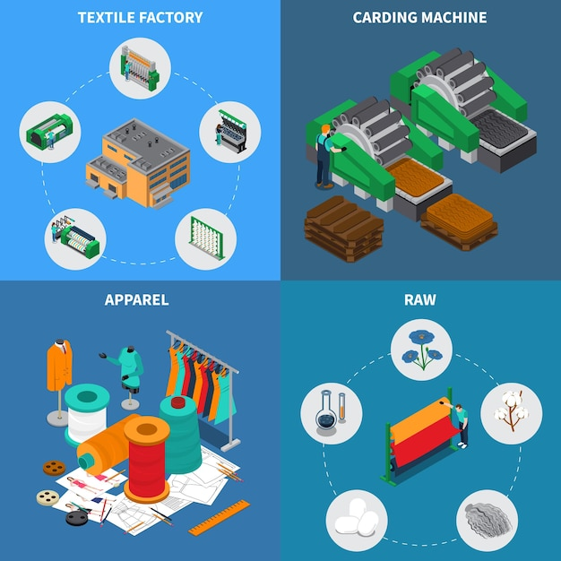 Textile industry isometric design concept with conceptual icons and pictograms with sewing spools and stitching needles Free Vector