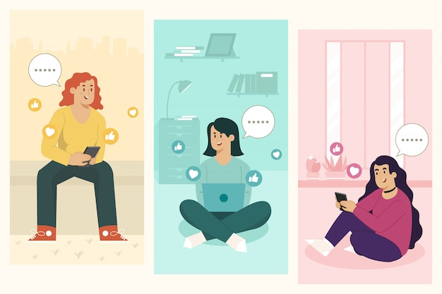 Texting concept chat with friends Premium Vector