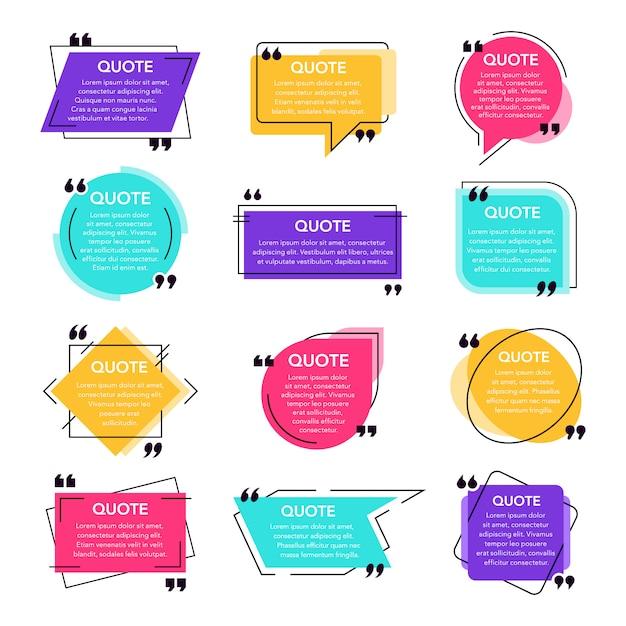 テキストメッセージはフレームを引用します。テキストボックステンプレート、引用現代引用吹き出し、ソーシャルネットワーク引用ダイアログボックス。備考テキストフレームテンプレートのアイコンを設定します。引用背景 Premiumベクター