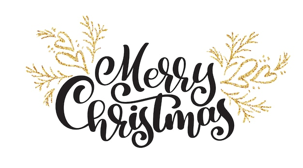 Texts merry christmas hand written calligraphy lettering Premium Vector