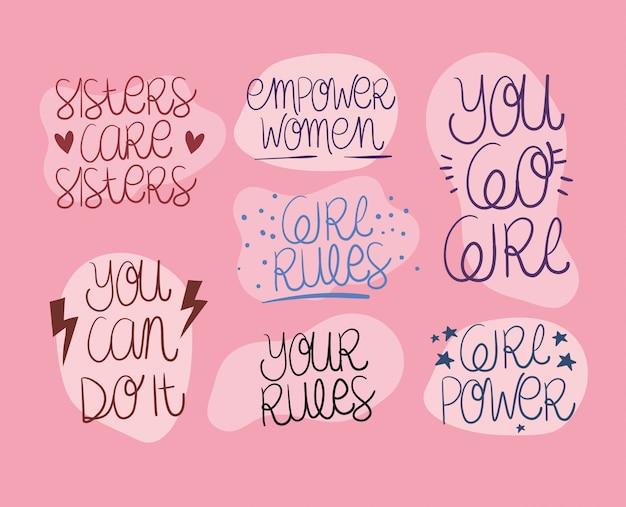 Texts set of women empowerment. female power feminist concept illustration Premium Vector