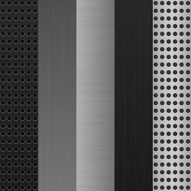 Texture metal background set Premium Vector