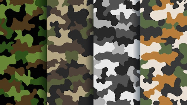 Texture military camouflage seamless pattern. abstract army and hunting masking camo endless ornament background. bright colors of forest texture.  illustration Premium Vector