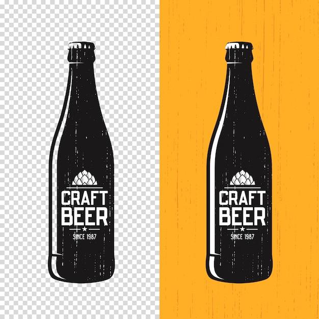 Textured craft beer bottle label Premium Vector