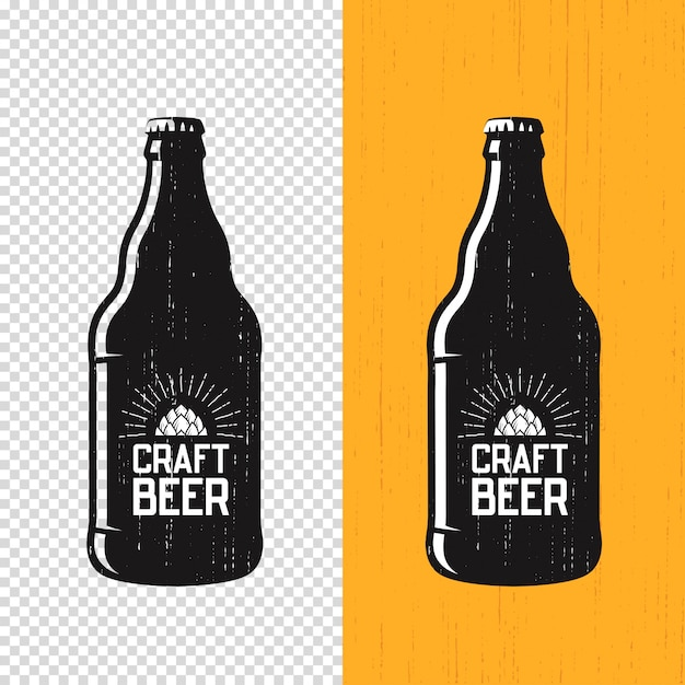Textured craft beer bottle label Premium Vector