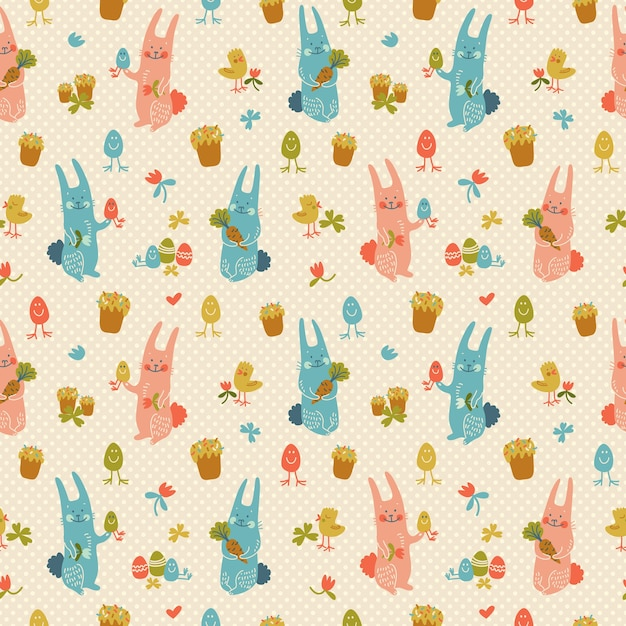 Texture seamless pattern di buona pasqua in colori pastello con conigli fiori uova carote e pulcini doodle Vettore gratuito