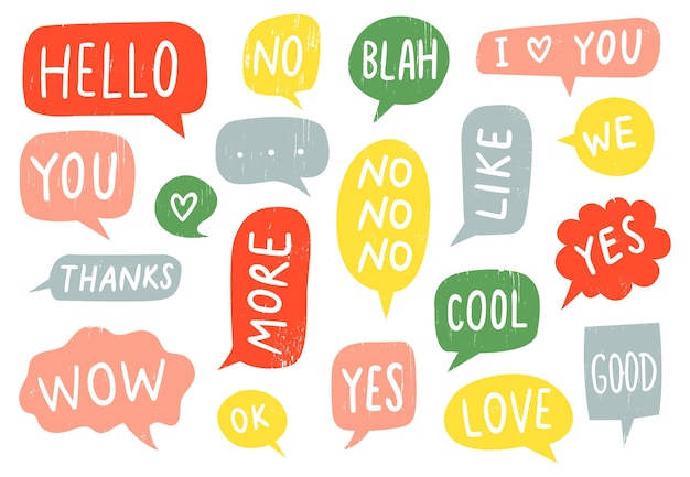 Textured speech bubble signs Free Vector