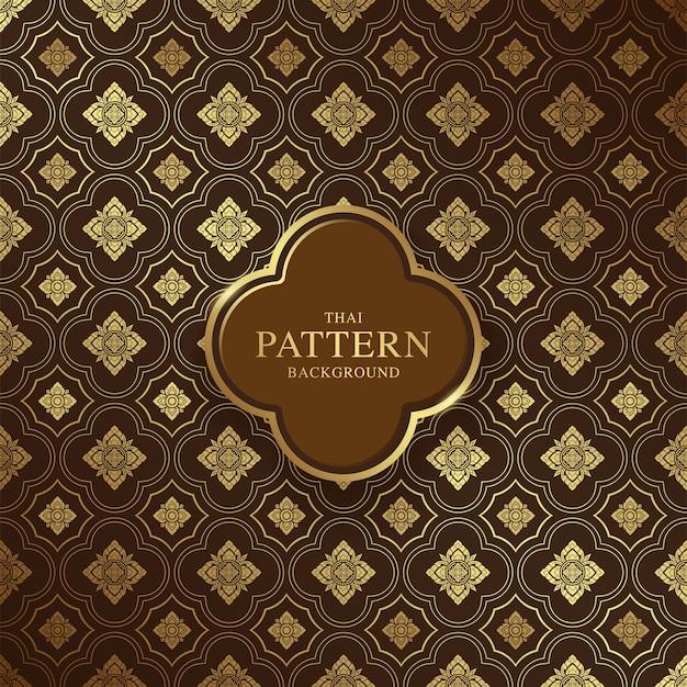 Thai art luxury temple and background pattern Premium Vector