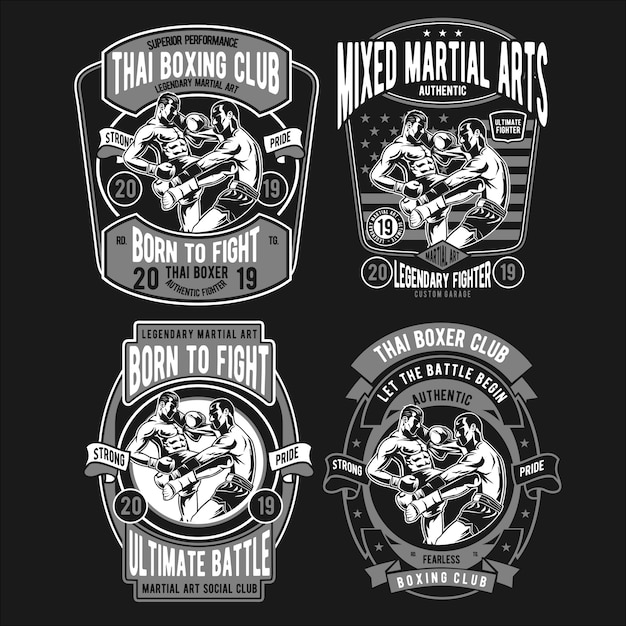 Thai boxer illustration design Premium Vector