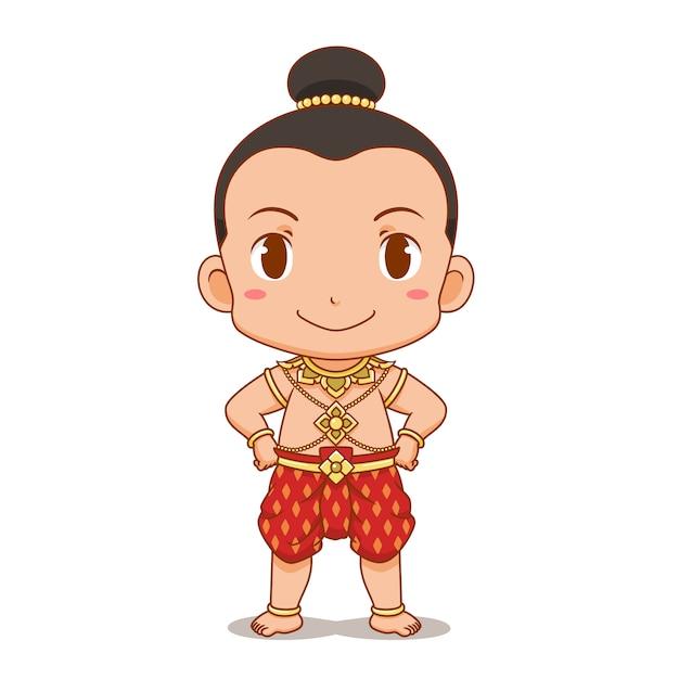Мультипликационный персонаж thai boy в традиционном костюме Premium векторы