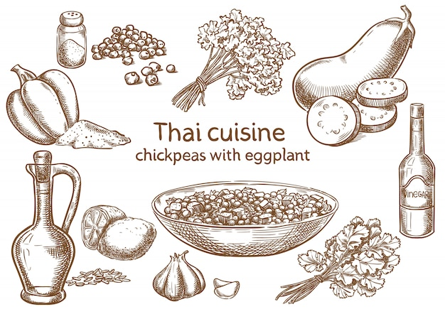 Thai cuisine. chickpeas with eggplant  ingredients vector sketch. Premium Vector