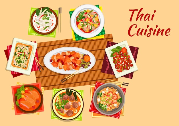 Thai cuisine dinner flat symbol of rice noodles with shrimps, cashew nut chicken, sweet and sour pork, chicken salad, pineapple duck curry, coconut milk chicken soup, lamb curry, pork meatball soup Premium Vector