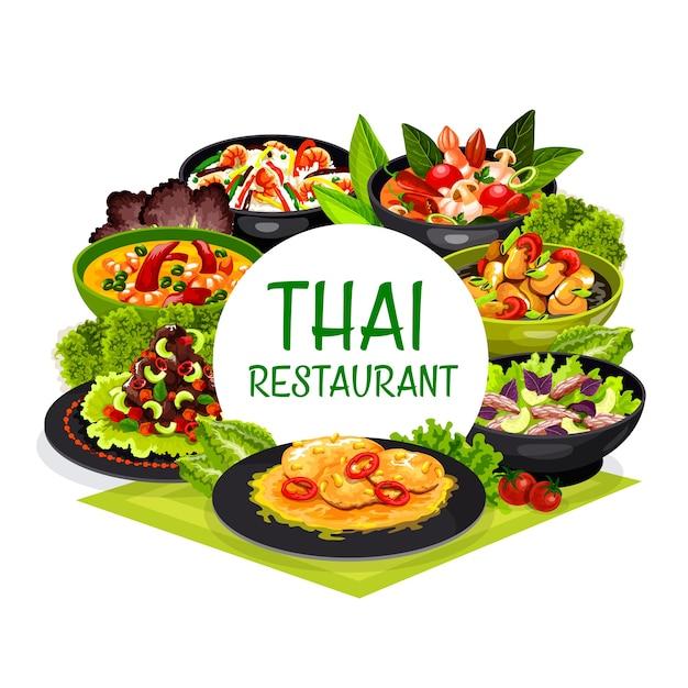 Тайская кухня тайландские блюда: рыбный суп из кокосового молока, том ям кунг и жареный рис с креветками, свиная вырезка с арахисом. Premium векторы
