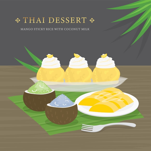 Thai dessert, mango and sticky rice with coconut milk and mango sauce. Premium Vector