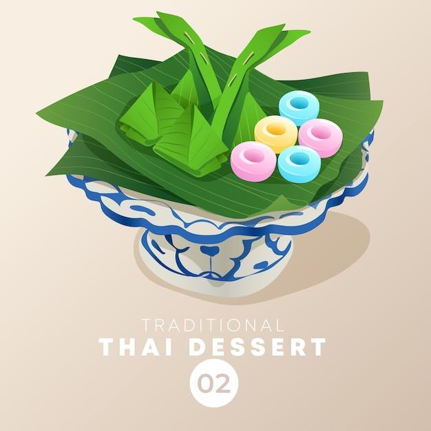 Thai dessert in traditional thai ceramic ware :  illustration Premium Vector