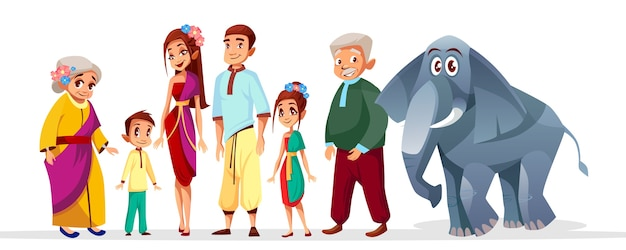 Thai family asian characters set. happy thailand siam senior woman, man near elephant Free Vector