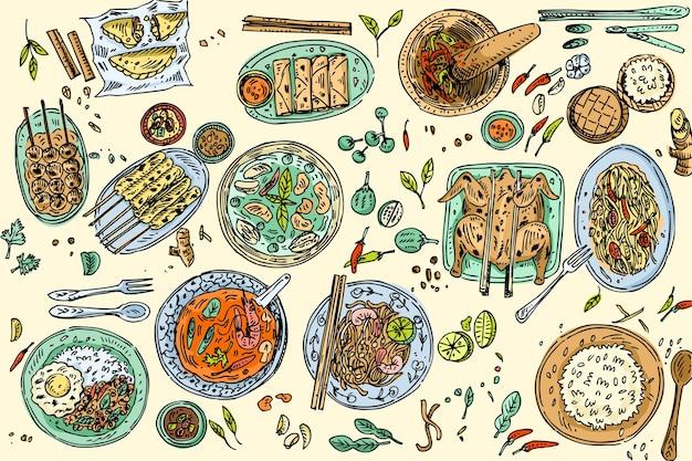 タイ料理の背景、トムヤムスープ、パッタイヌードル、チキンサテ、パパイヤサラダなどの手描きの人気のタイ料理。 Premiumベクター