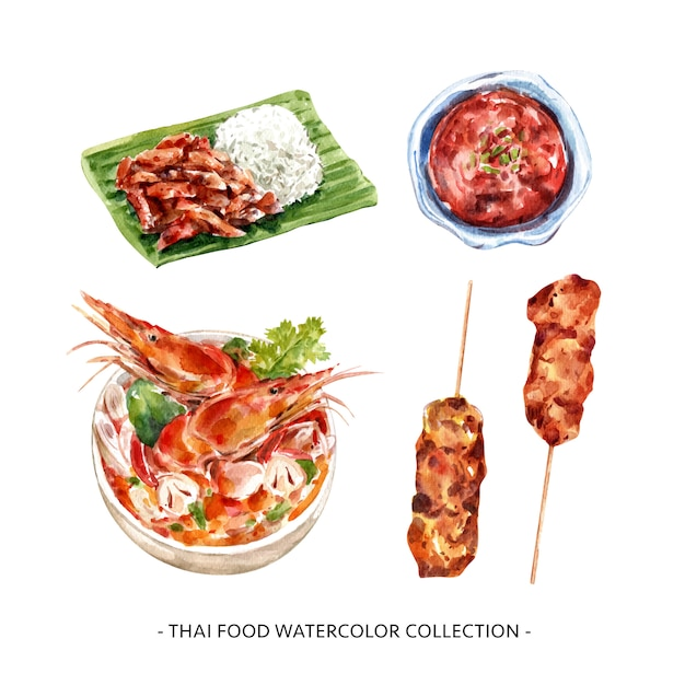Thai food collection design isolated watercolor illustration . Free Vector