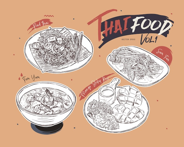 タイ料理コレクション、手描きスケッチ。 Premiumベクター