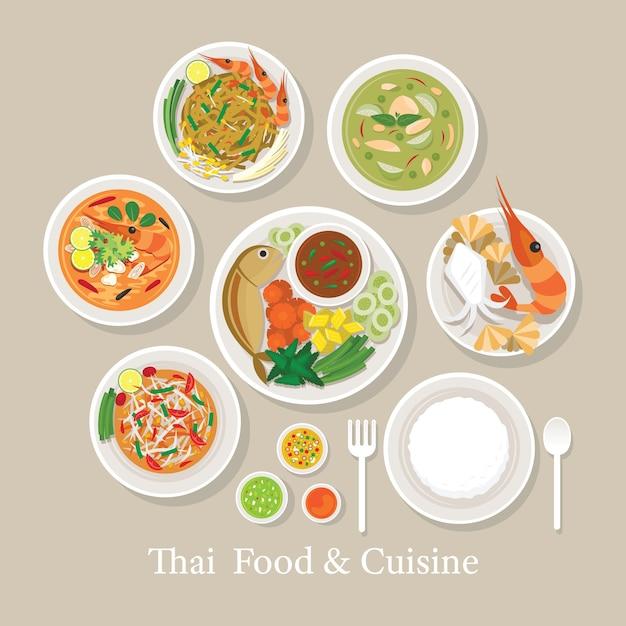 Thai food and cuisine set, traditional, favorite menu, with rice Premium Vector