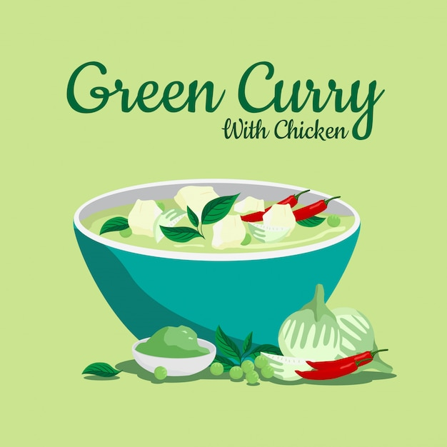 Thai food green curry with chicken in blow. Premium Vector