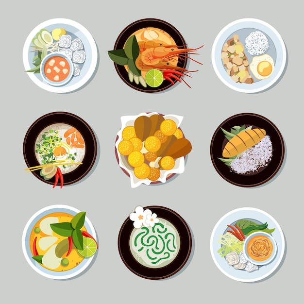 태국 음식 아이콘을 설정합니다. 새우와 전통 레스토랑, 요리 및 메뉴, 벡터 일러스트 레이션 무료 벡터
