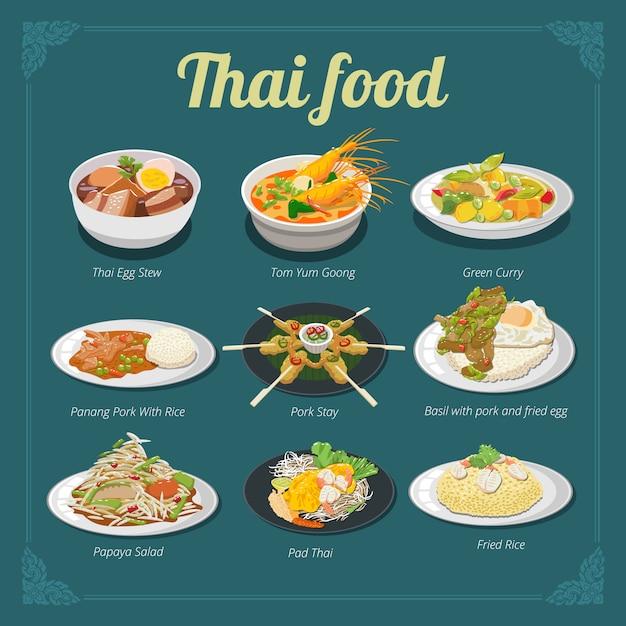 Thai food menu vector set collection graphic design Premium Vector