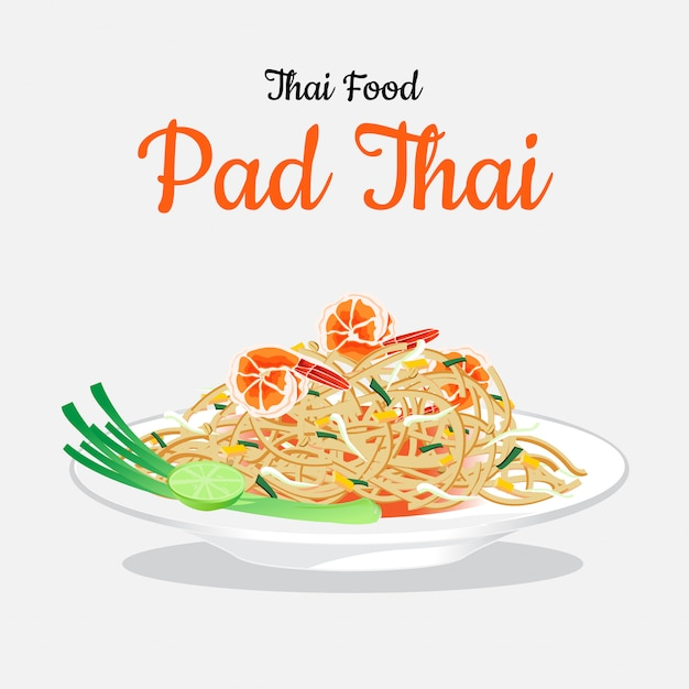 Thai food pad thai on white dish. Premium Vector