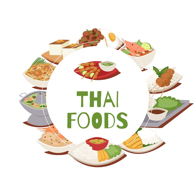Thai food poster with thailand cuisine  illustration, tom yam goong, asian food ,thai spicy dishes. Premium Vector