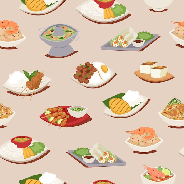 Thai food seamless pattern with thailand cuisine  illustration, tom yam goong, asian food ,thai spicy dishes. Premium Vector