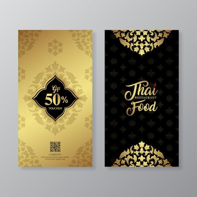 Thai food and thai restaurant luxury gift voucher design template Premium Vector