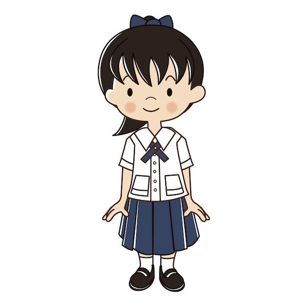 Thai girl in student uniform illustration. Premium Vector