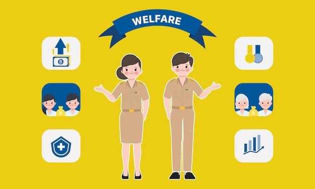 タイ政府の福利厚生。インフォグラフィックサイアムバンコクタイの教師のキャラクター。 Premiumベクター