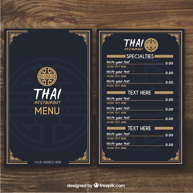 Thai Menu Template Vector  Free Download