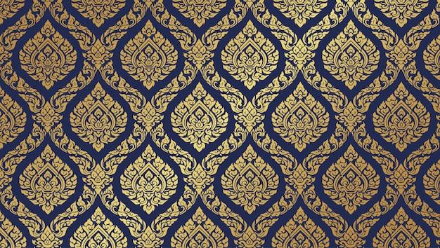 Thai pattern dark blue background Premium Vector