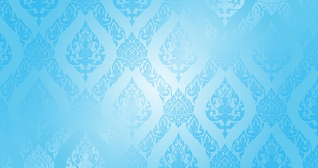 Thai pattern light blue background Premium Vector