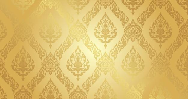 Thai pattern pure gold background Premium Vector