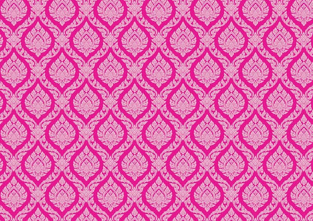 Thai pattern vintage pink vector illustrator Premium Vector