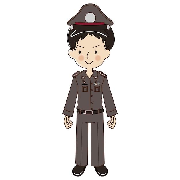 Thai police in uniform Premium Vector