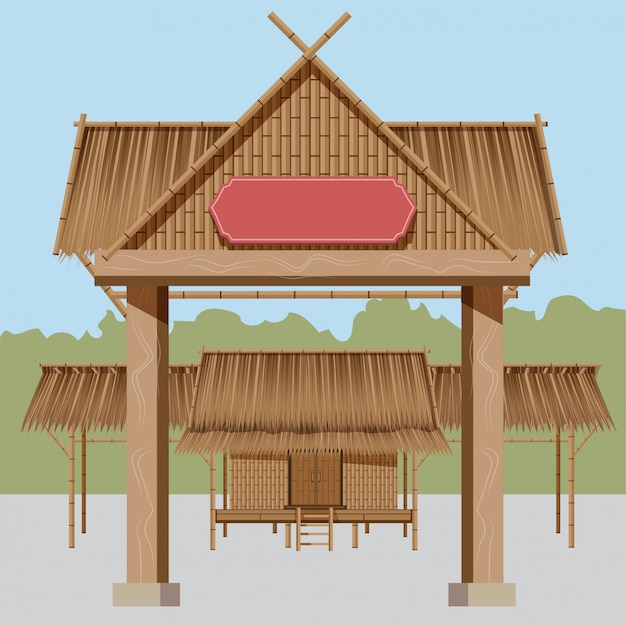 Thai rural houses, thatched roofs from there is a village entrance which is suitable for exhibition of folk events. Premium Vector