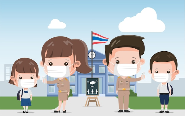 Thai school teacher and student prevention covid-19. siam bangkok school thailand safe from covid-19. Premium Vector