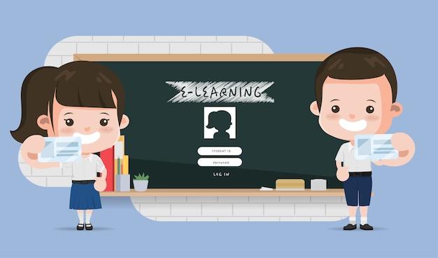 Thai student presenting e-learning online education school. bangkok thailand high school animation  design. Premium Vector