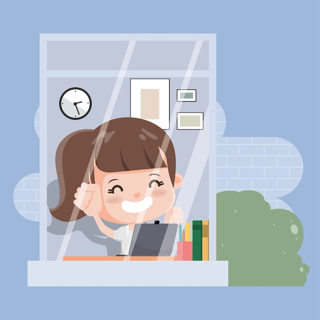 Thai student with laptop studying online education. online school at home. Premium Vector
